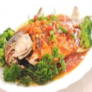 Món cá chim sốt nấm linh chi